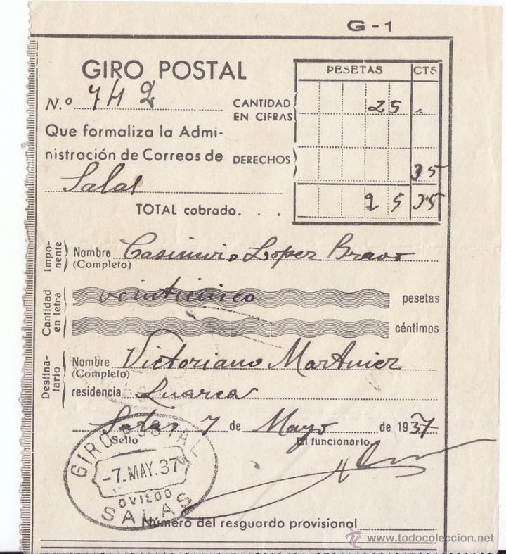 RESGUARDO DE GIRO POSTAL. DE SALAS A LUARCA. ASTURIAS. 1937 (Sellos - España - Guerra Civil - De 1.936 a 1.939 - Cartas)