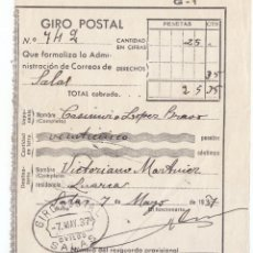 Sellos: RESGUARDO DE GIRO POSTAL. DE SALAS A LUARCA. ASTURIAS. 1937. Lote 50492733