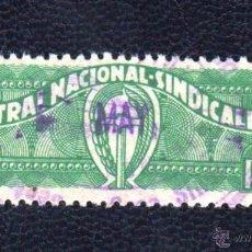 Sellos: 2 PTAS VERDE. CENTRAL NACIONAL SINDICALISTA. Lote 50508889