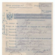 Francobolli: RESGUARDO DE GIRO POSTAL. 1939. CON ÁGUILA BICÉFALA. DE TORQUEMADA. PALENCIA A VIGO. GALICIA. Lote 50731052