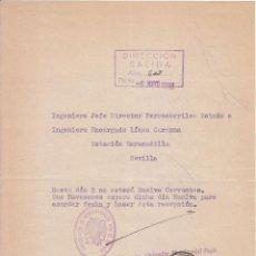 Sellos: CUARTILLA. TELÉGRAFOS. FERROCARRIL. VITORIA. ÁLAVA A SEVILLA. ESTACIÓN ENRAMADILLA. 1938. Lote 50957389