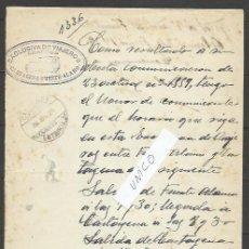 Sellos: Q165-DOCUMENTO 1939 UNICO CORREOS LINEA VIAJEROS CARTAGENA A FUENTE ALAMO.DIRIGIDO AL SR.ADMINISTRAD. Lote 51056780