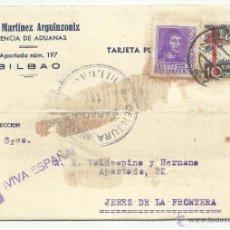 Sellos: TARJETA CIRCULADA 1938 DE BILBAO VIZCAYA A JEREZ CADIZ CON CENSURA MILITAR VER FOTO. Lote 51069896