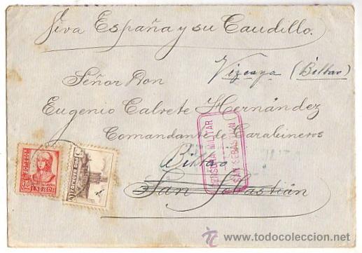 SOBRE CENSURA MILITAR GUIPUZCOA. GUERRA CIVIL. REMITIDO DESDE BADAJOZ (Sellos - España - Guerra Civil - De 1.936 a 1.939 - Usados)