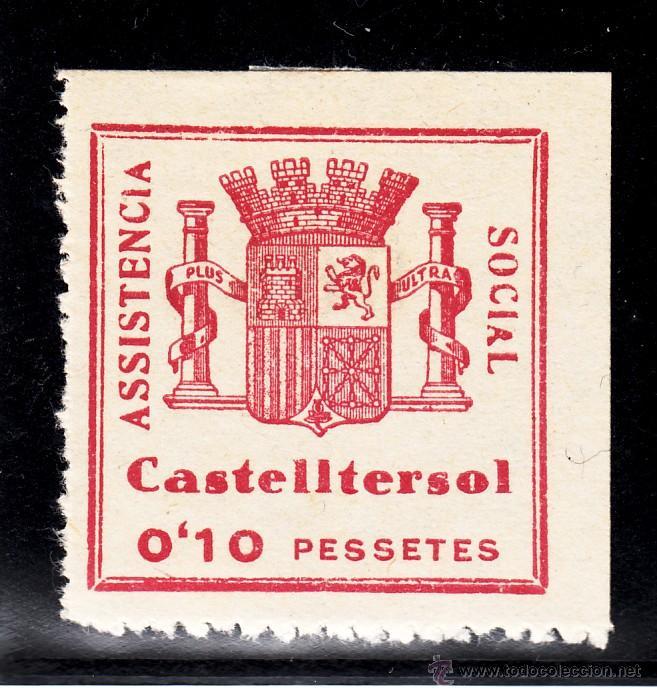 ,,LOCAL REPUBLICANO CASTELLTERSOL (BARCELONA) 356 CON CHARNELA, ASISTENCIA SOCIAL (Sellos - España - Guerra Civil - Locales - Usados)