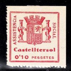 Sellos: ,,LOCAL REPUBLICANO CASTELLTERSOL (BARCELONA) 356 CON CHARNELA, ASISTENCIA SOCIAL . Lote 51148272