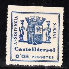Sellos: ,,LOCAL REPUBLICANO CASTELLTERSOL (BARCELONA) 355 CON CHARNELA, ASISTENCIA SOCIAL . Lote 51148293