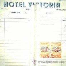 Sellos: 2 SELLOS DE LA CARIDAD GRANADINA DE 5 CENTIMOS SOBRE FACTURA HOTEL VICTORIA CORDOBA GRANADA. Lote 51378427