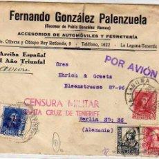 Sellos: SOBRE FERNANDO GONZÁLEZ PALENZUELA. AUTOMÓVILES LA LAGUNA. CENSURA MILITAR SANTA CRUZ TENERIFE.. Lote 51575912