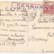Sellos: VALENCIA. CENSURA DE ENTRADA. 1937. Lote 51601827