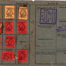 Sellos: GUERRA CIVIL. CNT. BARCELONA. CARNET 1938 CON 11 VIÑETAS O CUOTAS. Lote 51663832