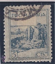 PRO MÁLAGA 5 CTS. (Sellos - España - Guerra Civil - Locales - Usados)