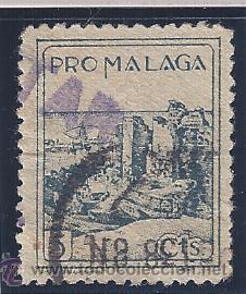 PRO MÁLAGA 5 CTS. CENSURA MILITAR. (Sellos - España - Guerra Civil - Locales - Usados)