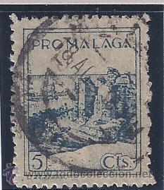 PRO MÁLAGA 5 CTS. EXCELENTE MATASELLOS DE FECHA 8 DE AGOSTO DE 1938. (Sellos - España - Guerra Civil - Locales - Usados)