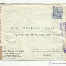 Sellos: CIRCULADA 1944 DE TENERIFE CANARIAS A LONDON ENGLAND CENSURA MILITAR FRANCO FRANCO FRANCO. Lote 51801063