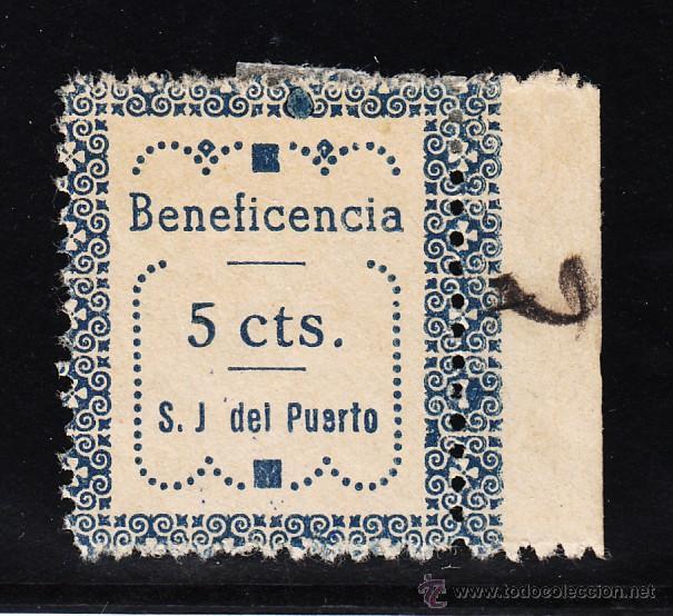 ,,LOCAL NACIONALISTA SAN JUAN DEL PUERTO (HUELVA) 643 TIPO I CON CHARNELA, BENEFICENCIA (Sellos - España - Guerra Civil - Locales - Usados)