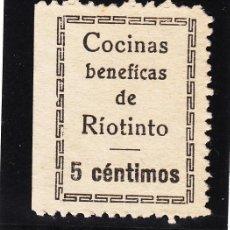 Sellos: ,,LOCAL NACIONALISTA RIOTINTO (HUELVA) 630B TIPO I CON CHARNELA, VDAD RÍOTINTO CON ACENTO, CÉNTIMOS+. Lote 51938543