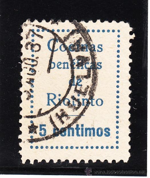 ,,LOCAL NACIONALISTA RIOTINTO (HUELVA) 629AD TIPO I USADA, VDAD CENTIMOS SIN ACENTO, BENÉFICAS CON + (Sellos - España - Guerra Civil - Locales - Usados)