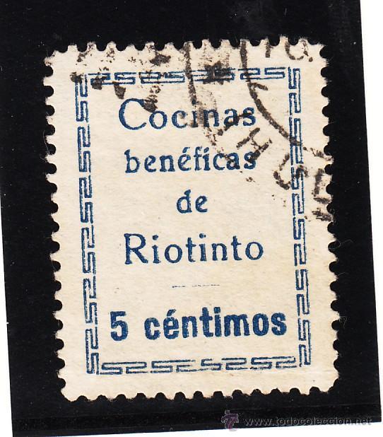 ,,LOCAL NACIONALISTA RIOTINTO (HUELVA) 628AA TIPO I USADA, VDAD CÉNTIMOS CON ACENTO, BENÉFICAS CON + (Sellos - España - Guerra Civil - Locales - Usados)