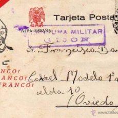 Sellos: CENSURA MILITAR GIJÓN ASTURIAS. CÁRCEL MODELO. FRANCO GUERRA CIVIL 6/9/1938. Lote 51980563