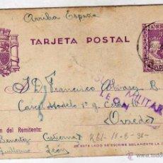 Sellos: ENTERO POSTAL CON CENSURA MILITAR LEON. ENVIADA A LA CÁRCEL MODELO DE OVIEDO. 7/8/ 1938. Lote 51980612