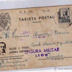 Sellos: CENSURA MILITAR LEON, TARJETA POSTAL FRANCO ENVIADA A LA CÁRCEL MODELO DE OVIEDO. 1938 GUERRA CIVIL. Lote 51980763