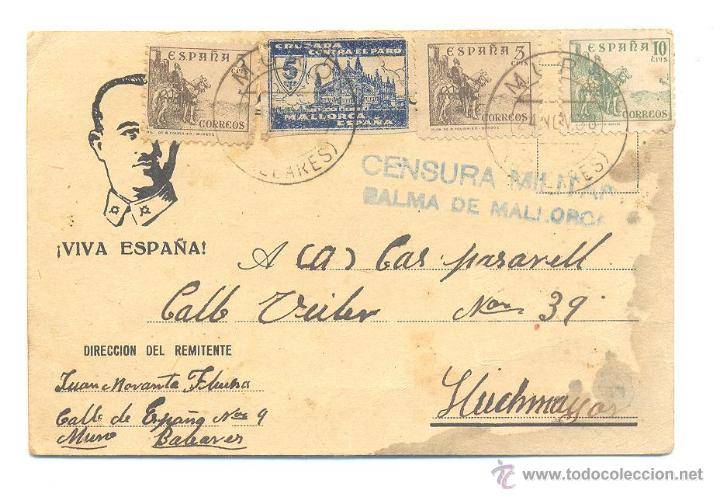 CARTA 1938 CON PROPAGANDA VIVA ESPAÑA BUSTO DE FRANCO CENSURA MILITAR (Sellos - España - Guerra Civil - De 1.936 a 1.939 - Cartas)