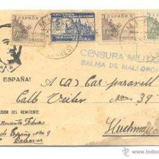 Sellos: CARTA 1938 CON PROPAGANDA VIVA ESPAÑA BUSTO DE FRANCO CENSURA MILITAR. Lote 52444726