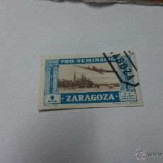 Sellos: SELLO PRO SEMINARIO ZARAGOZA 1 PTS VIÑETA UNA PESETA. Lote 52528021