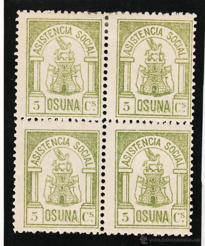 ,,LOCAL NACIONALISTA OSUNA (SEVILLA) 538 EN B4 CON CHARNELA, ASISTENCIA SOCIAL (Sellos - España - Guerra Civil - Locales - Usados)
