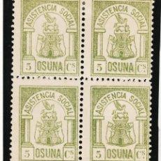 Sellos: ,,LOCAL NACIONALISTA OSUNA (SEVILLA) 538 EN B4 CON CHARNELA, ASISTENCIA SOCIAL. Lote 52754468