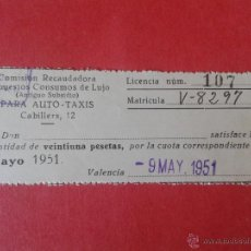 Sellos: VALE/CUPÓN DE LA COMISIÓN RECAUDADORA. IMPUESTOS CONSUMOS DE LUJO. 1951. 4 X 10 CENTIMETROS. Lote 52758082