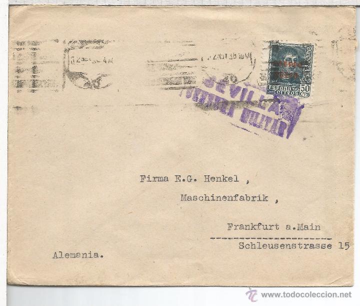 SEVILLA CC A LA EMPRESA HENKEL DE SEVILLA SELLO CORREO AEREO CENSURA MILITAR SEVILLA (Sellos - España - Guerra Civil - De 1.936 a 1.939 - Cartas)