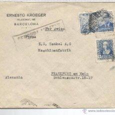 Sellos: BARCELONA CC A LA EMPRESA HENKEL SELLO ISABEL Y LA CIERVA CENSURA MILITAR. Lote 52767183