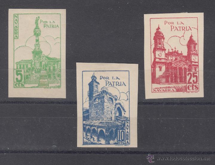 ,,LOCAL NACIONALISTA NAVARRA 509/11 SIN DENTAR CON CHARNELA, POR LA PATRIA, (Sellos - España - Guerra Civil - Locales - Usados)