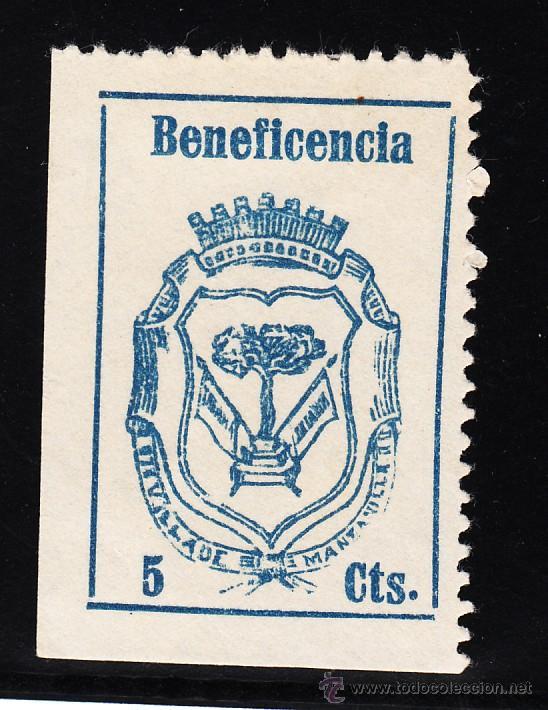 ,,LOCAL NACIONALISTA MANZANILLA (HUELVA) 443 CON CHARNELA, BENEFICENCIA, (Sellos - España - Guerra Civil - Locales - Usados)