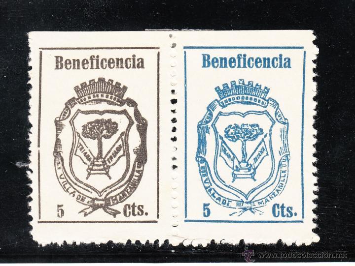 ,,LOCAL NACIONALISTA MANZANILLA (HUELVA) 442/3 UNIDOS CON CHARNELA, BENEFICENCIA, (Sellos - España - Guerra Civil - Locales - Usados)