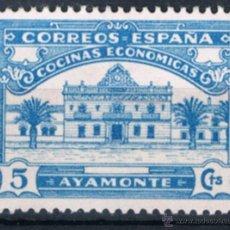 Sellos: SELLO LOCAL AYAMONTE COCINAS ECONOMICAS 5 CTS AZUL. GUERRA CIVIL. Lote 53085437