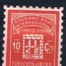 Sellos: GUERRA CIVIL SELLO LOCAL TORREDONJIMENO SOCORRO ROJO INTERNACIONAL FONDO DE AYUDA 10 CTS. LOT122015. Lote 53302917