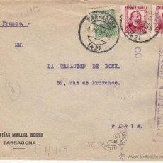 Sellos: SOBRE DE MATIAS MALLOL BOSCH DE TARRAGONA CIRCULADA A PARÍS-CENSURA REPÚBLICA ESPAÑOLA- 1937. Lote 53378724