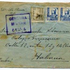 Sellos: CARTA CIRCULADA A CUBA - GUERRA CIVIL - CENSURA MILITAR - AVILA - RARA. Lote 53465693