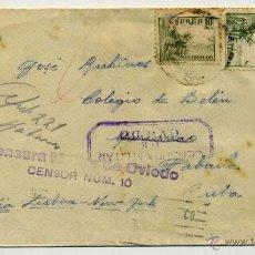 Sellos: CARTA CIRCULADA A CUBA - GUERRA CIVIL - CENSURA MILITAR (CENSOR Nº 10) - AVILA - RARA. Lote 53465740