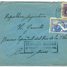 Sellos: CARTA CIRCULADA 1939 - CENSURA MILITAR GUARDIA CIVIL VILLABRAGIMA - VALLADOLID A BUENOS AIRES RARA. Lote 53584696