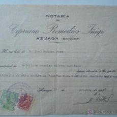 Sellos: AZUAGA. BADAJOZ. OCTUBRE 1936. MINUTA NOTARIA. CON TIMBRE FISCAL Y VIÑETA BENEFICA 5 CENTIMOS.. Lote 53600566