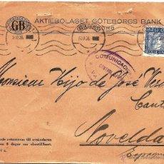Sellos: CARTA CIRCULADA DE GÖTEBORG (SUECIA) A NOVELDA (ALICANTE) - AÑO 1936 - CONTROL OFICIAL VALENCIA. Lote 53705149