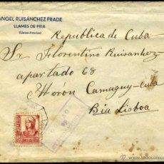 Sellos: CARTA GUERRA CIVIL 1938- DE LLANES (ASTURIAS) A MORON (CUBA) - CENSURA OVIEDO - CORREO AMBULANTE. Lote 53731024