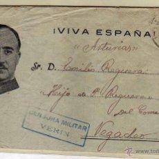 Sellos: CENSURA MILITAR VERIN. GUERRA CIVIL FECHADA EL 12 DE OCTUBRE DE 1938. CARTA.. Lote 53805045