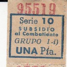 Sellos: 4 VIÑETAS SUBSIDIO AL COMBATIENTE DE 1 PTA.. Lote 53859433