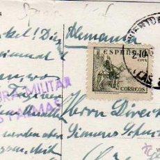 Sellos: CENSURA MILITAR LAS PALMAS SOBRE TARJETA POSTAL DE LAS PALMAS. CANARIAS GUERRA CIVIL. Lote 219732420