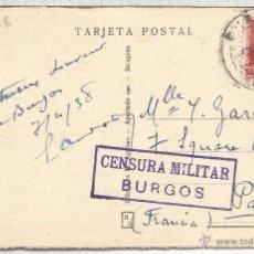 Sellos: GUERRA CIVIL BURGOS TARJETA A FRANCIA 1938 CON CENSURA MILITAR . Lote 53981086